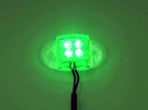 Logisys MDLED4GN 12V Water Resistant Quad LED Light (Green)