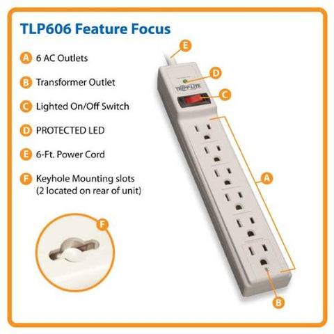 Tripp Lite TLP606 Surge Protector Power Strip