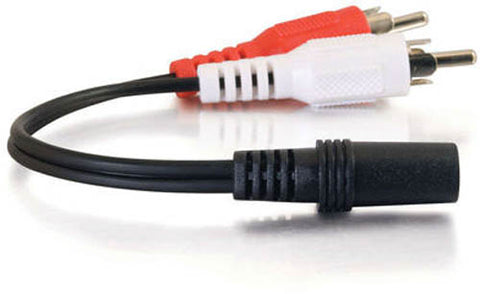 "Image of C2G 6"" Female 3.5mm Audio to 2x Male RCA Stereo Cable"