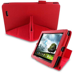 rooCASE for ASUS MeMO Pad 7 Origami Dual-View Vegan Leather Folio Red