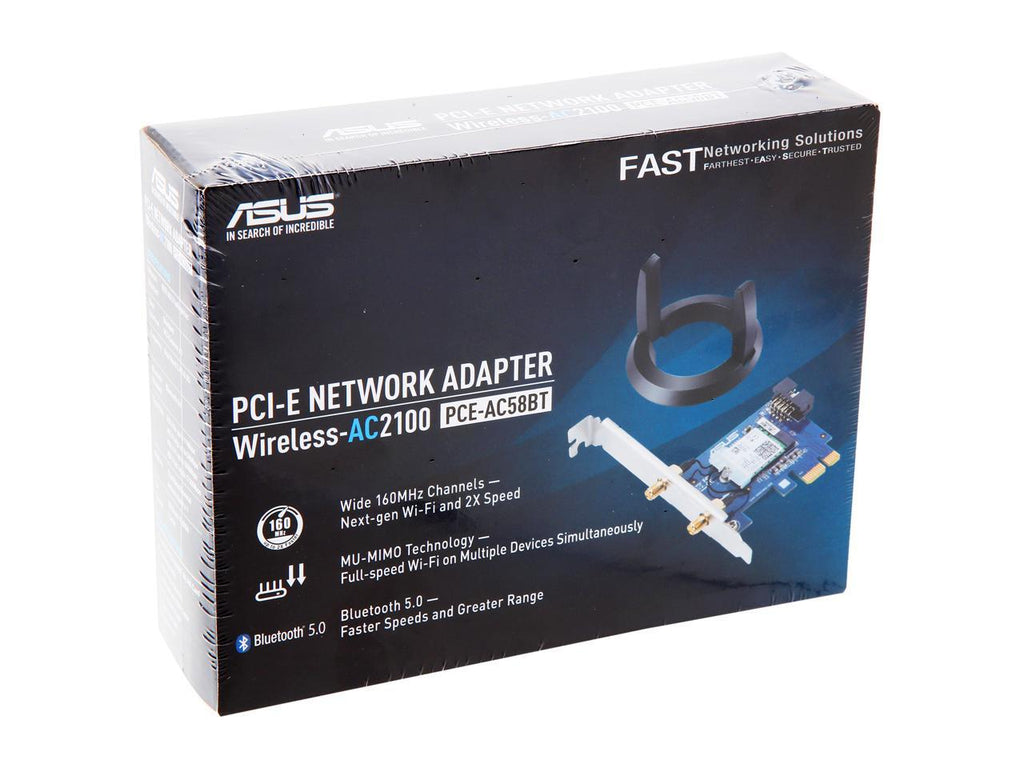 ASUS PCE-AC58BT AC2100 MU-MIMO Dual-Band PCIe 160MHz Wi-Fi Adapter Bluetooth 5.0