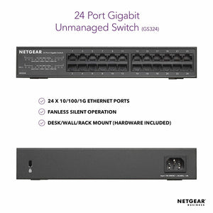 Netgear 24-Port Gigabit Ethernet Unmanaged Switch, Desktop or Rackmount (GS324)