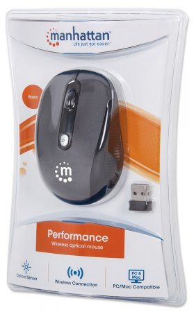 Manhattan 177795 Performance Optical Wireless Mouse (Black / Silver)