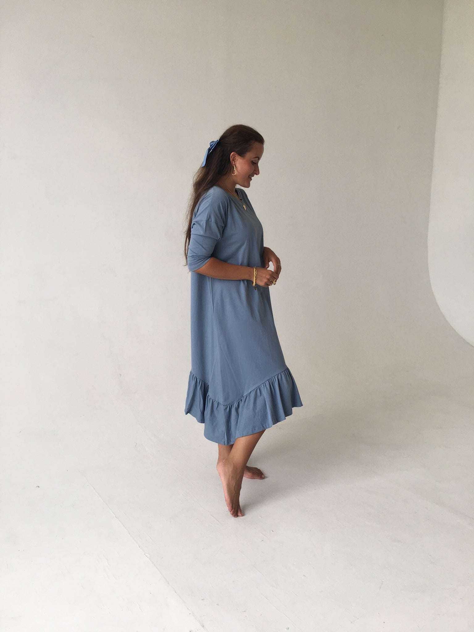 Oversize Ruffle Bottom Dress - Blue