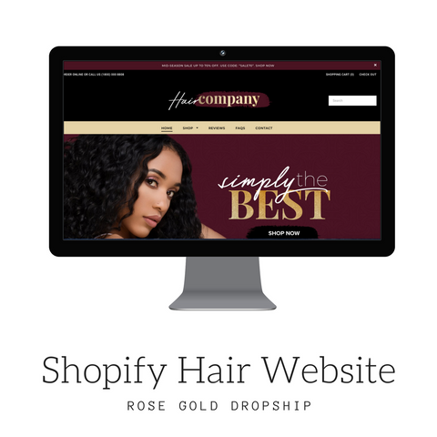 SHOPIFY Hair Extension Burgundy Website $599 + $29.99 Dropship Membership