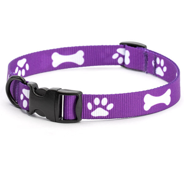 NEW #205-BP Printed Paw/Bone Adjustable Collars