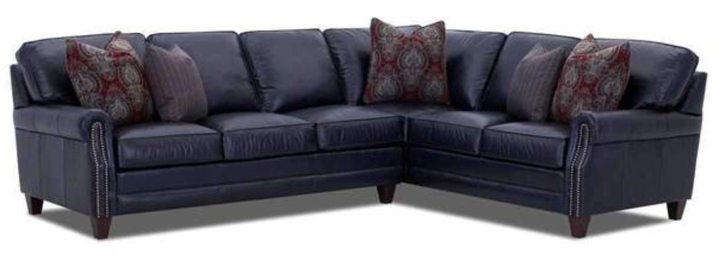 blue top grain leather sofa