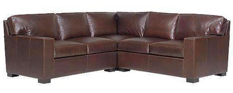 Caden Contemporary 3 Piece Leather Sectional With Track Arms