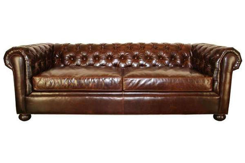 Empire Leather Chesterfield Style Tufted Queen Sleeper Sofa