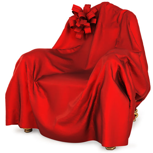 armchair covered red satin cloth
