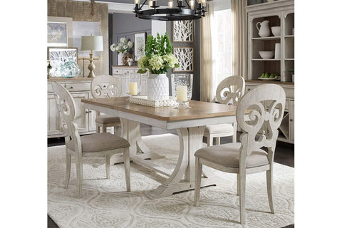 Aberdeen 5 Piece Antique White Trestle Table Dining Set With Splat Back Chairs