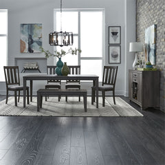 Carson 6 Piece Rectangular Leg Table Dining Set In Greystone Finish With Slat Back Chairs And Dining Bench