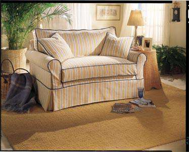 "Brigid 58 Inch ""Designer Style"" Slipcovered Chair And A Half Twin Sleeper"