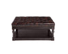 "Image of Alfred ""Quick Ship"" 43 Inch Long Tufted Leather Coffee Table With Wood Storage Base"