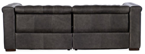 "Bromley Gravel Chesterfield 88 Inch ""Quick Ship"" Wall Hugger Power Leather Reclining Sofa"