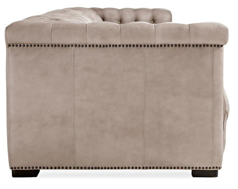 "Bromley Taupe Chesterfield 88 Inch ""Quick Ship"" Wall Hugger Power Leather Reclining Sofa"