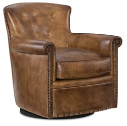 "Byrne Pawn ""Quick Ship"" Leather Swivel Accent Chair With Nail Trim"