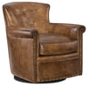 "Image of Byrne Pawn ""Quick Ship"" Leather Swivel Accent Chair With Nail Trim"