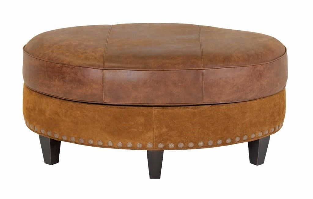 Groovy Cameron 42 Inch Round Leather Bench Coffee Table Machost Co Dining Chair Design Ideas Machostcouk