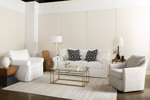 "Christine 84 Inch ""Quick Ship"" Slipcovered Sofa In Off White or Bright White Fabric"