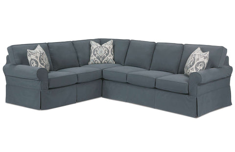 "Christine ""Designer Style"" Fabric Slipcovered Sectional Couch"