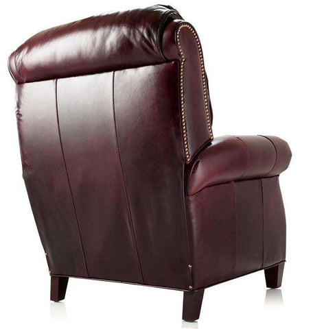 Edgar Tall Leather Pillow Back Recliner Arm Chair