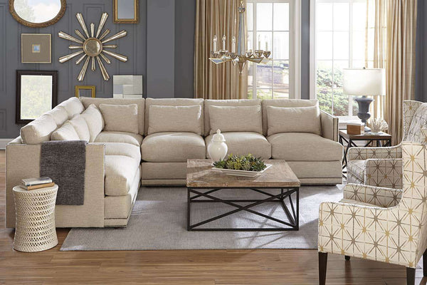 "Gretchen ""Designer Style"" Fabric Sectional w/ Nailhead Trim"