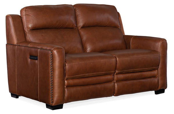 "Herman Bruciato 60 Inch ""Quick Ship"" Wall Hugger 3-Way Power Leather Reclining Loveseat"