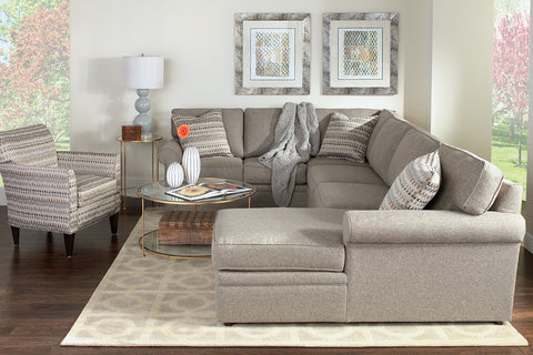 "Kyle ""Designer Style"" Fabric Upholstered Sectional Couch"