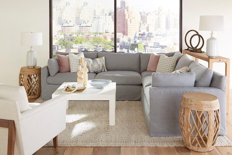 "Liza 2-Piece ""Designer Style"" Slipcovered Sectional (As Configured)"