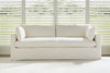 "Image of Liza I 88 Inch ""Designer Style"" Single Bench Seat Slipcovered Sofa"