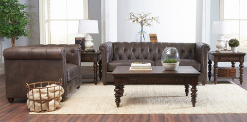 London 88 Inch Chesterfield Classic Rolled Arm Leather Couch w/ Decorative Nailhead Trim