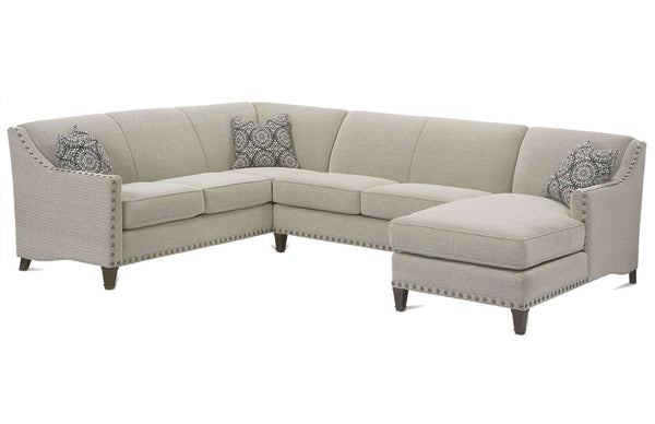 "Mariana ""Designer Style"" Tight Back Fabric Sectional w/ Nailhead Trim"
