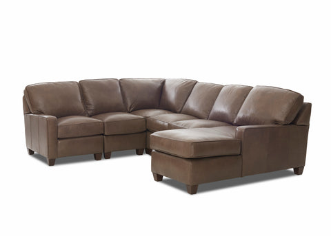 Mills Contemporary Track Arm Leather Sectional
