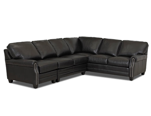 Oswald Leather Sectional With Decorative Nailhead Trim