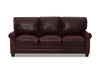 Image of Oswald 83 Inch Classic Rolled Arm Leather Couch w/ Decorative Nailhead Trim