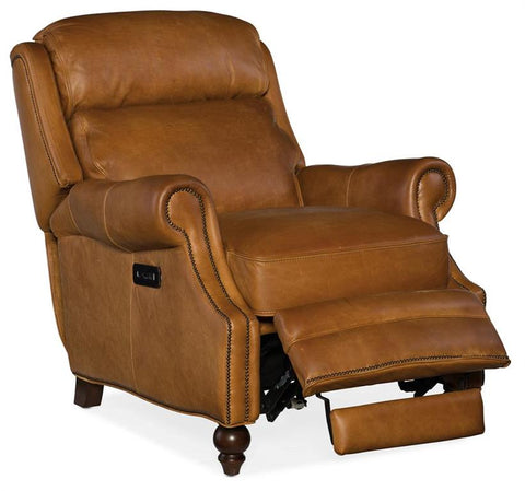 "Leopold Power ""Quick Ship"" Traditional Bustle Back Leather Recliner"
