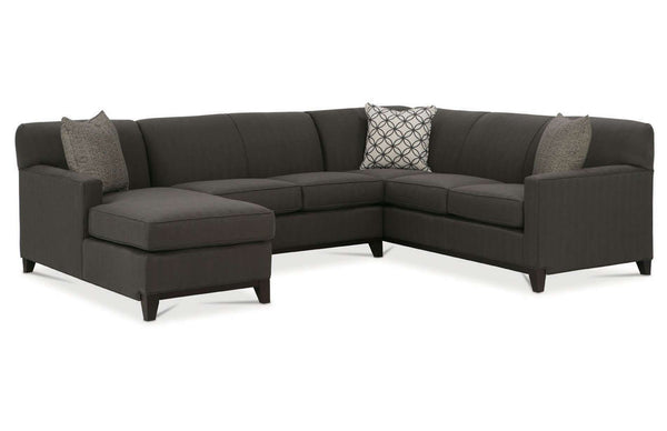 "Solomon ""Designer Style"" Tight Back Track Arm Fabric Sectional Couch"
