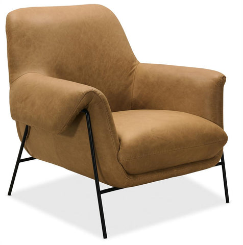 "Stockholm ""Quick Ship"" Modern Leather Tight Back Accent Chair With Metal Legs"