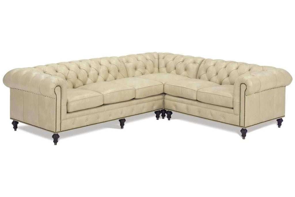 Walden Designer Style Leather Chesterfield Sectional Club Furniture