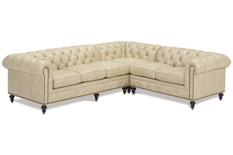 "Walden ""Designer Style"" Leather Chesterfield Sectional - Club Furniture"