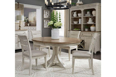 Aberdeen 5 Piece Antique White Pedestal Table Dining Set With Ladder Back Chairs
