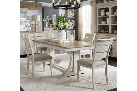 Aberdeen 5 Piece Antique White Trestle Table Dining Set With Ladder Back Chairs