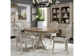 Aberdeen 5 Piece Antique White Pedestal Table Dining Set With Splat Back Chairs