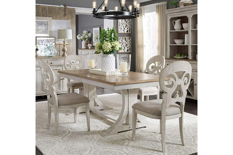 Aberdeen 7 Piece Antique White Trestle Table Dining Set With Splat Back Chairs