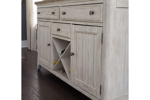 Aberdeen Farmhouse Style Antique White Storage Dining Buffet With Hutch