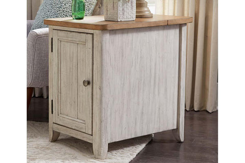 Aberdeen Distressed White Door Chair Side Table With Chesnut Top And Charging Station