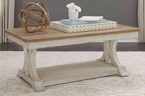 Aberdeen Distressed Antique White Coffee Table With Chestnut Top