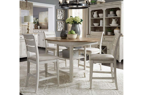 Aberdeen 5 Piece Antique White Counter Height Gathering Table Dining Set
