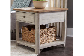 Aberdeen Distressed White Single Drawer End Table With Storage Basket And Chesnut Top